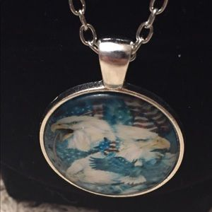 """Jewelry - Eagle and American Flag Pendant Necklace 18"""""""